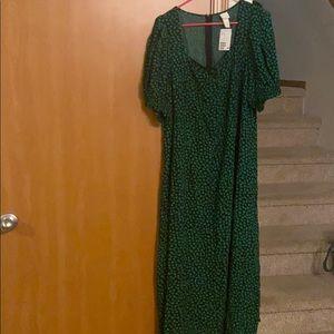H&M green floral long dress size XL women's
